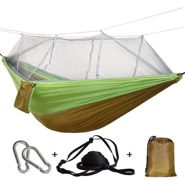 Lukowulf's Camping Haven brown green / China 1-2 Person Outdoor Mosquito Net Parachute Hammock Camping Hanging Sleeping Bed Swing Portable  Double  Chair Hamac Army Green
