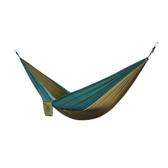 Lukowulf's Camping Haven Camel and dark green Portable Hammock 2 Person Outdoor Camping Survival Hammock Garden Swing Hunting Hanging Sleeping Chair Travel Parachute Hammocks