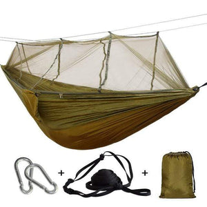 Lukowulf's Camping Haven camel green / China 1-2 Person Outdoor Mosquito Net Parachute Hammock Camping Hanging Sleeping Bed Swing Portable  Double  Chair Hamac Army Green