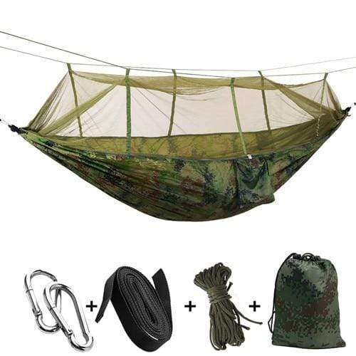 Lukowulf's Camping Haven camouflage / China 1-2 Person Outdoor Mosquito Net Parachute Hammock Camping Hanging Sleeping Bed Swing Portable  Double  Chair Hamac Army Green