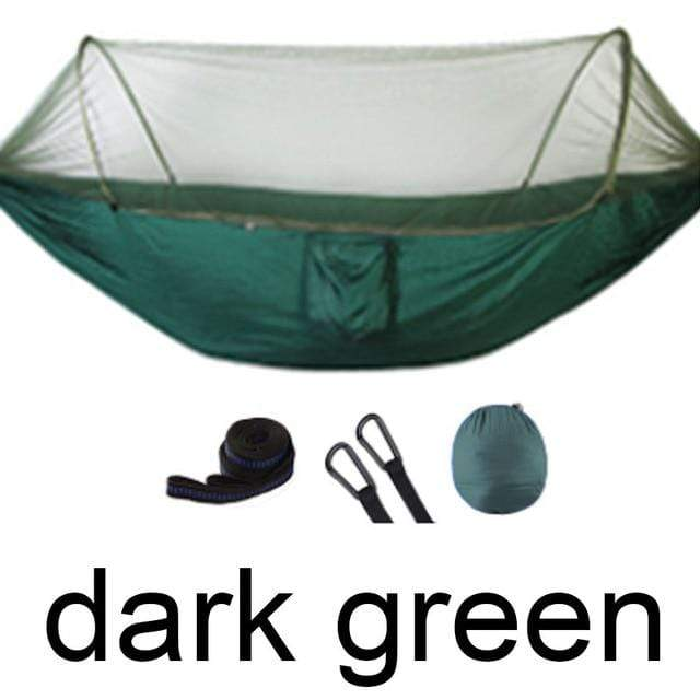 Lukowulf's Camping Haven Dark green Outdoor Mosquito Net Parachute Hammock Portable Camping Hanging Sleeping Bed High Strength Sleeping Swing 250x120cm