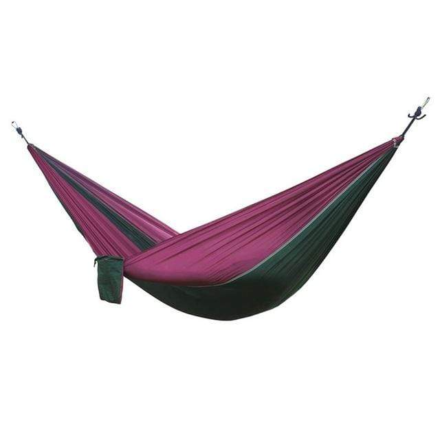Lukowulf's Camping Haven Dark green - purple Portable Hammock 2 Person Outdoor Camping Survival Hammock Garden Swing Hunting Hanging Sleeping Chair Travel Parachute Hammocks
