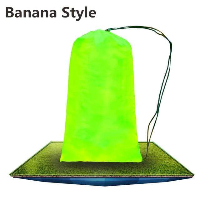 Lukowulf's Camping Haven Fruit green Banana 2019 Trend Outdoor Products Fast Infaltable Air Sofa Bed Good Quality Sleeping Bag Inflatable Air Bag Lazy bag Beach Sofa Laybag