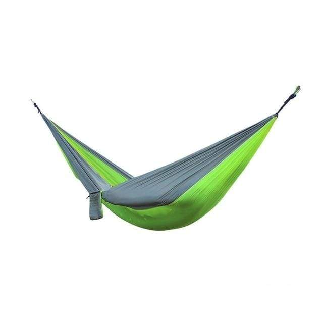 Lukowulf's Camping Haven green with grey Portable Hammock 2 Person Outdoor Camping Survival Hammock Garden Swing Hunting Hanging Sleeping Chair Travel Parachute Hammocks