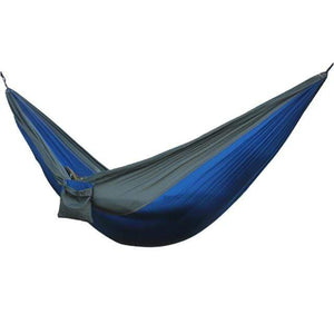 Lukowulf's Camping Haven Grey Blue Portable Hammock 2 Person Outdoor Camping Survival Hammock Garden Swing Hunting Hanging Sleeping Chair Travel Parachute Hammocks