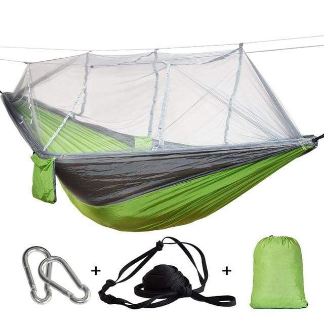 Lukowulf's Camping Haven grey green / China 1-2 Person Outdoor Mosquito Net Parachute Hammock Camping Hanging Sleeping Bed Swing Portable  Double  Chair Hamac Army Green