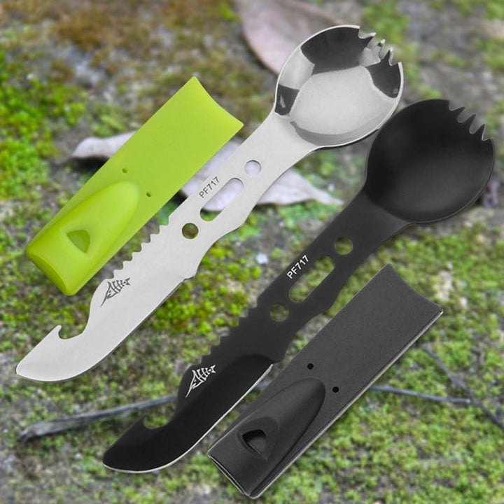Lukowulf's Camping Haven Multifunctional Camping Cookware Spoon Fork Bottle Opener Portable Tool Safety & Survival Durable Stainless Steel Survival kit