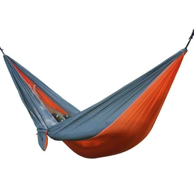 Lukowulf's Camping Haven Orange Gray Portable Hammock 2 Person Outdoor Camping Survival Hammock Garden Swing Hunting Hanging Sleeping Chair Travel Parachute Hammocks