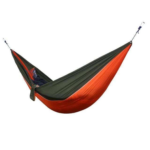 Lukowulf's Camping Haven Orange Green Portable Hammock 2 Person Outdoor Camping Survival Hammock Garden Swing Hunting Hanging Sleeping Chair Travel Parachute Hammocks