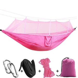 Lukowulf's Camping Haven pink / China 1-2 Person Outdoor Mosquito Net Parachute Hammock Camping Hanging Sleeping Bed Swing Portable  Double  Chair Hamac Army Green