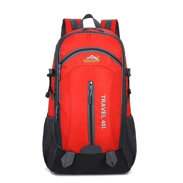 Lukowulf's Camping Haven Red USB Charging 40L Travel Backpacks
