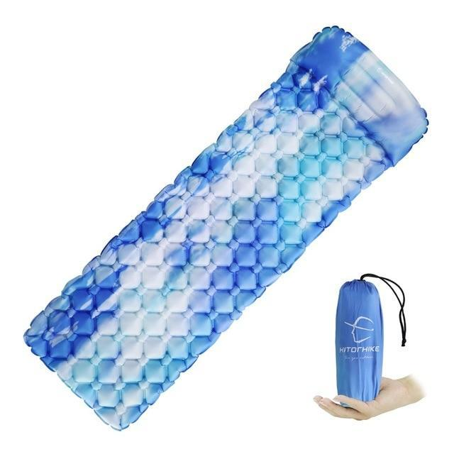 Lukowulf's Camping Haven sky blue / China Sleeping Pad Compact Camping Backpacking Air Pad Lightweight Inflatable Sleeping Mat Ultralight Portable picnic moistureproof