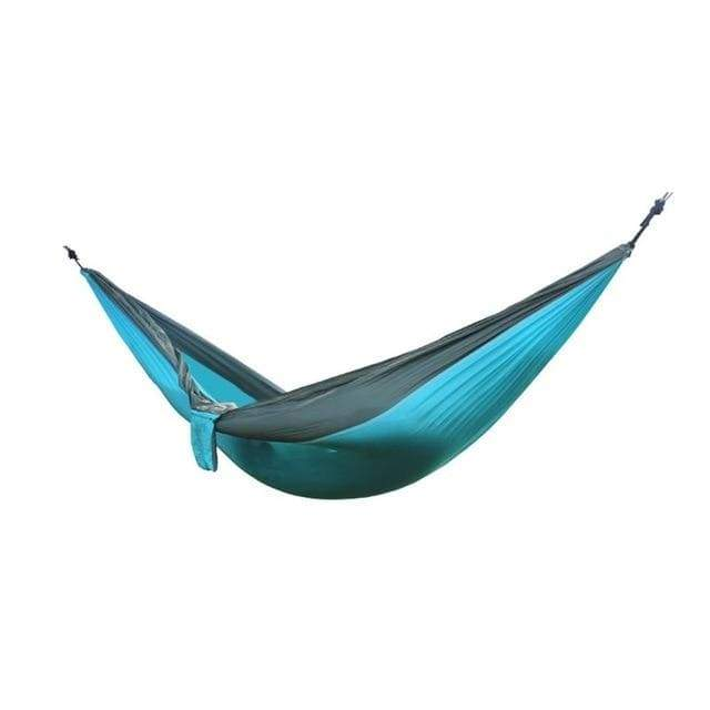 Lukowulf's Camping Haven Sky blue with grey Portable Hammock 2 Person Outdoor Camping Survival Hammock Garden Swing Hunting Hanging Sleeping Chair Travel Parachute Hammocks