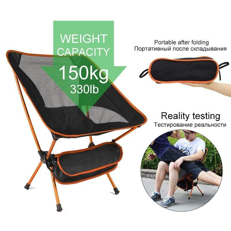 Lukowulf's Camping Haven Travel Ultralight Folding Chair Superhard High Load Outdoor Camping Chair Portable Beach Hiking Picnic Seat Fishing Tools Chair