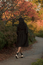 LONG SLEEVE GATHERED DRESS, BLACK