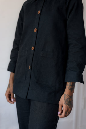 CHORE COAT, BLACK DENIM