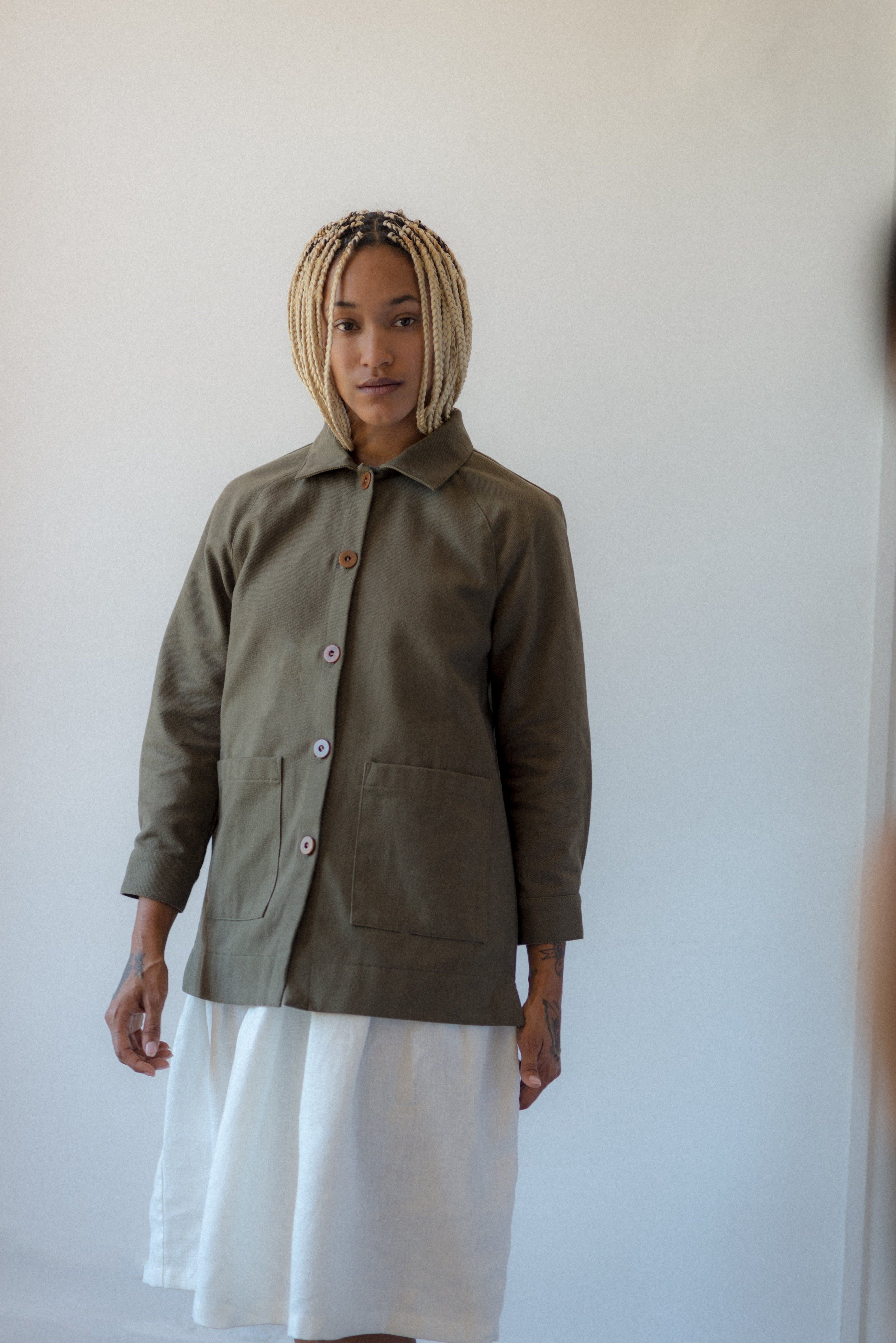CHORE COAT, OLIVE DENIM