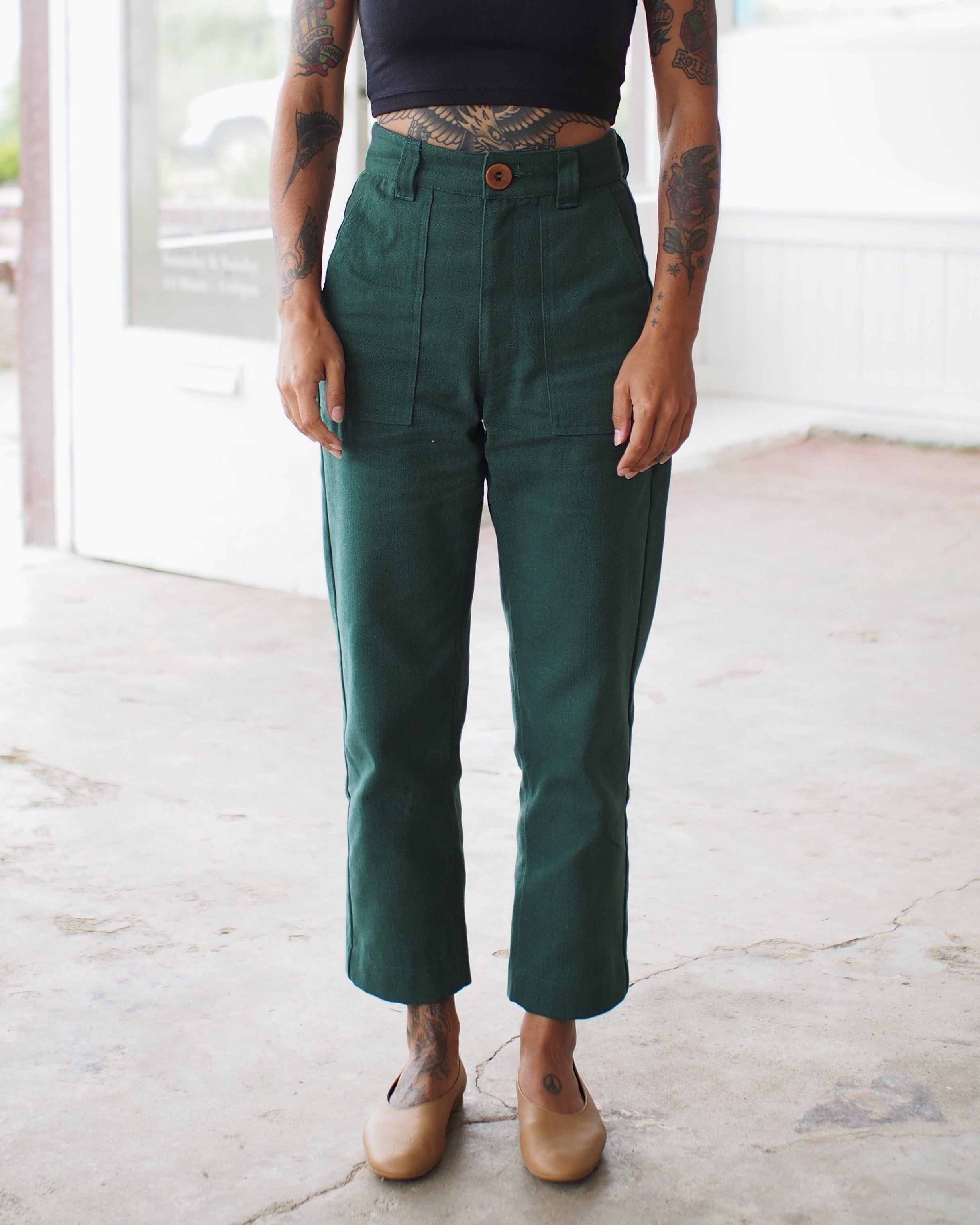 UTILITY PANTS, FOREST DENIM