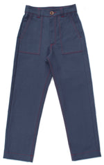 UTILITY PANTS, BLUE DENIM WITH RED STITCH