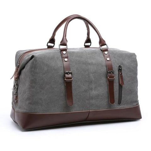 Canvas Duffel Bag With Leather Trim - Gray Duffel Bag
