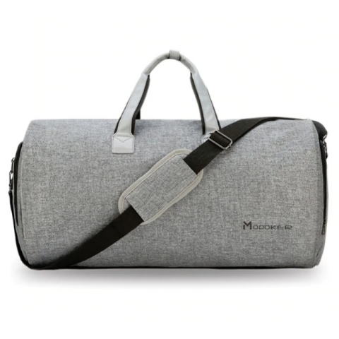 Convertible Garment Bag With Shoulder Strap - Gray Duffel Bag