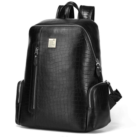 Croc Patterned Leather Backpack - Black Backpack