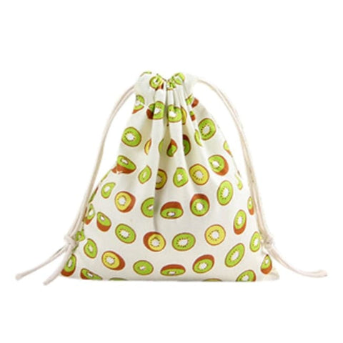 Drawstring Emoji Linen Backpack - Kiwi Drawstring Bag