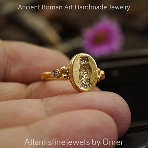Fly Coin Ring Roman Art Handmade Sterling Silver By Omer 24k Gold Vermeil