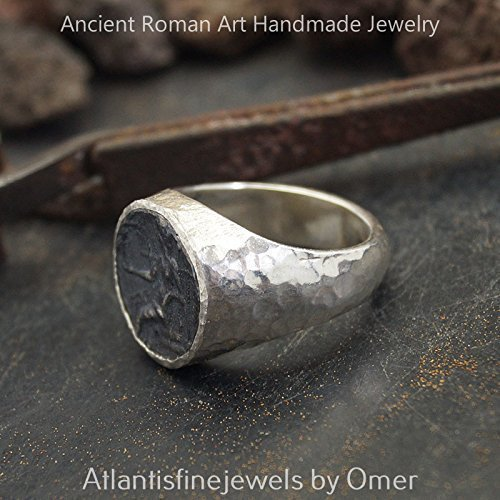 FREE SIZE* Bold Collection By Omer Large Alexander Coin 2 Tone Mens Ring Handmade 925 Sterling Silver
