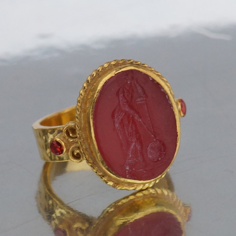 24K Gold Over 925K Sterling Silver Ring Handmade Hammered Band Medusa Carved Carnelian Ring Ancient Style Boho Roman Ancient Signet Ring