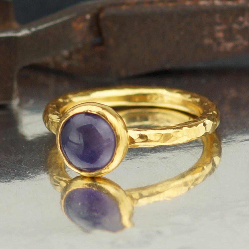 Hand Crafted Tanzanite Ring in 925 Sterling Silver with  Gold vermeil