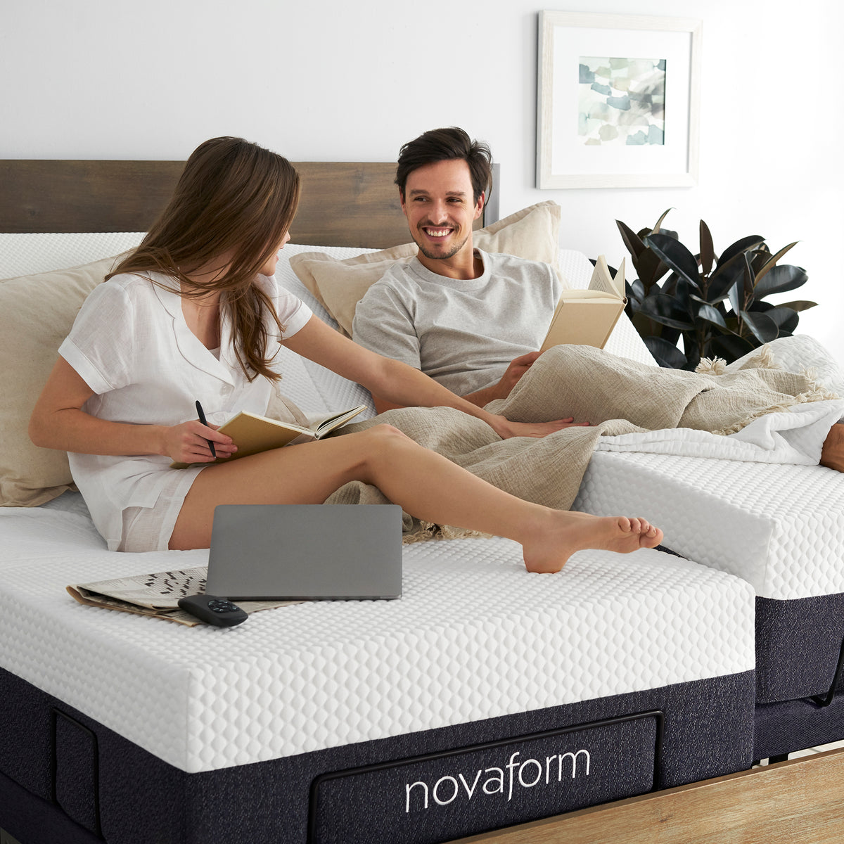12 Serafina Split King Memory Foam Mattress With