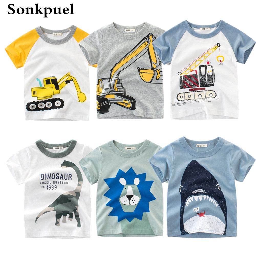 1,8Y Kids Boys T,shirt New Excavator Design Baby Cotton Tops Summer  Clothing Toddler Fashion T,shirt Cute Children Play Clothes