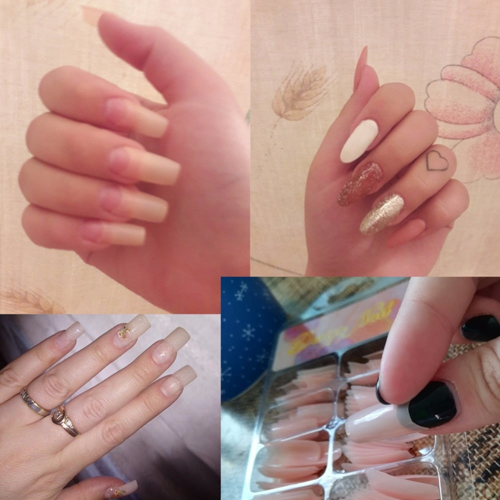 Nude pink Half Nail Tips South French Salon Acrylic Nail Art False ...