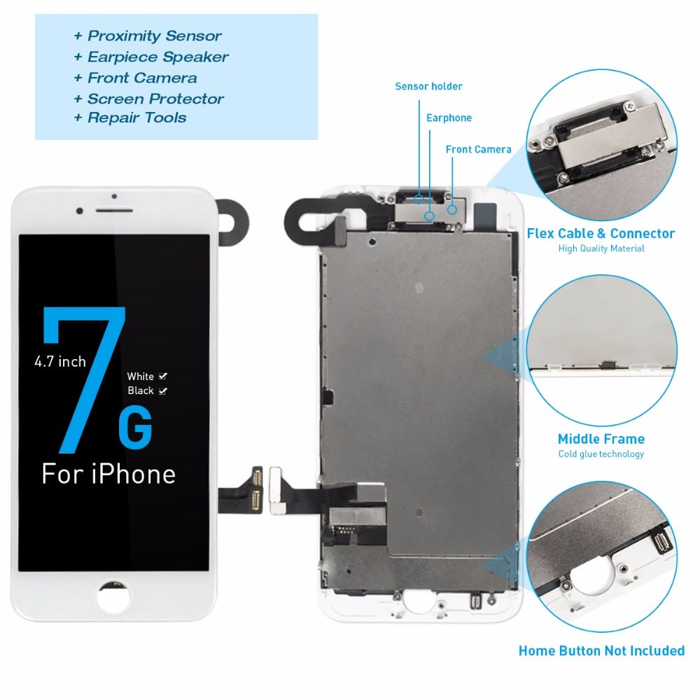 sneakers for cheap 0bbaf 8cdde 1Pcs OEM LCD For iPhone 7 7 Plus Display Full Set Digitizer Assembly 3D  Touch Screen Replacement +Front Camera+Earpiece Speaker