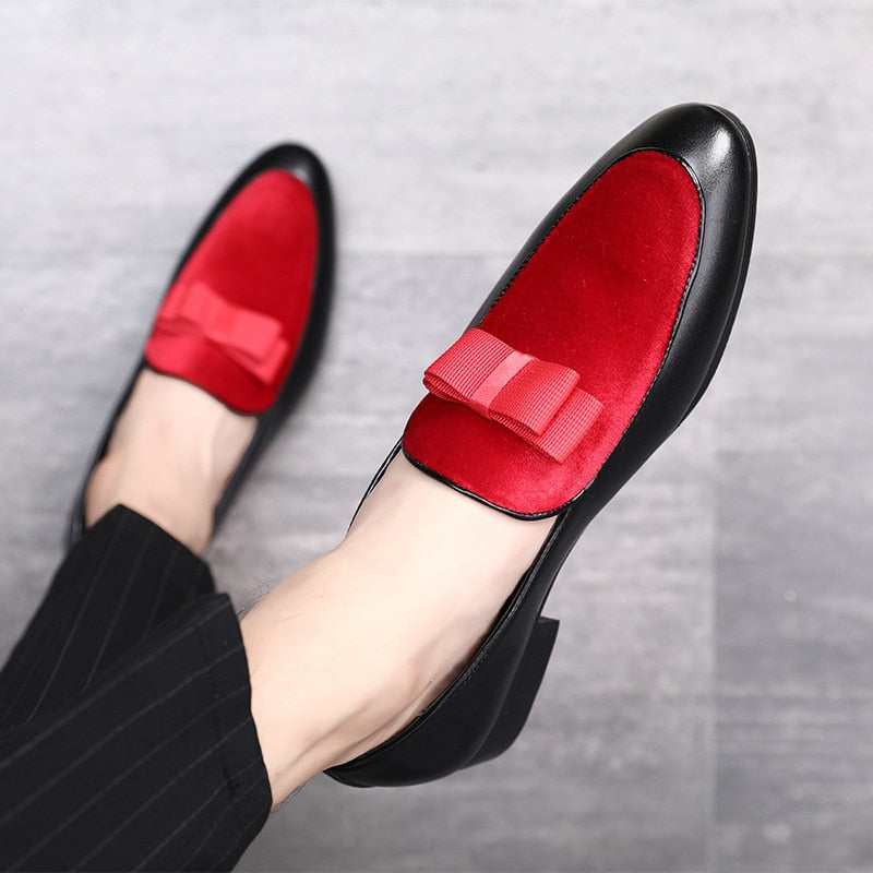 Gentlemen Bowknot Wedding Dress Male Flats Casual Slip on Shoes Black  Patent Leather Red Suede Loafers 84eed6d8e199