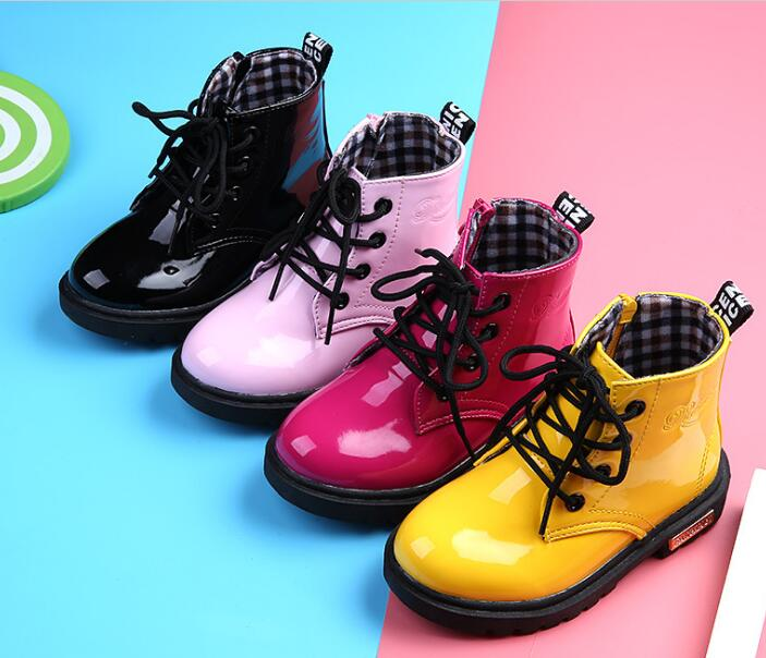 33843ab70a1f New Children Shoes PU Leather Waterproof Martin boots Kids leather shoes  Brand Girls Boys Rubber Boots