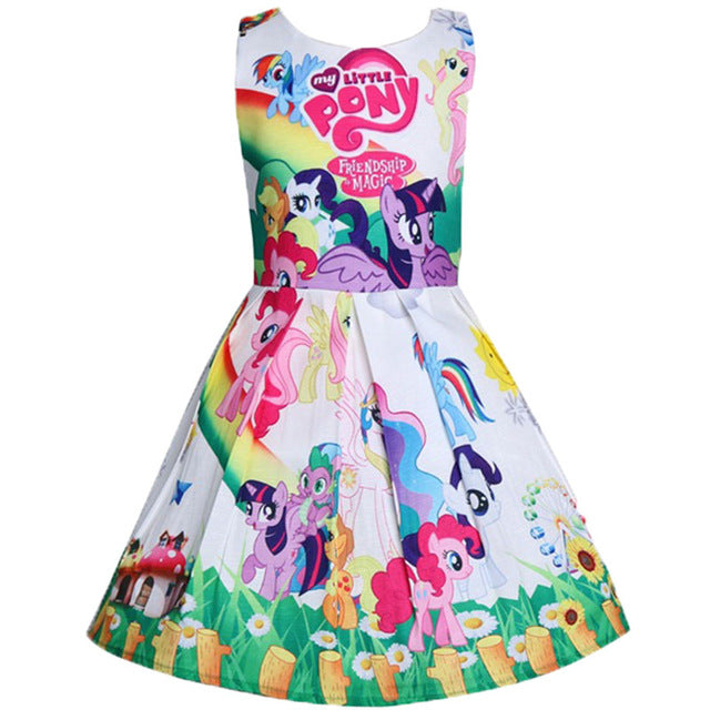 f752726a47bf6 2018 New My Baby Summer Princess Little Pony Rainbow Dresses For ...