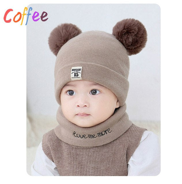 ca2e588f600a 2PCS Winter Baby Boys Girls Hats+Scarf Sets Warm Double Fur Pom ...