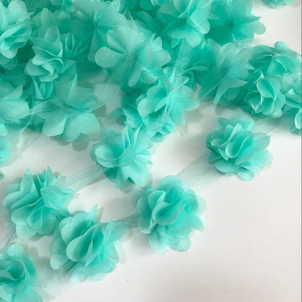 9c81433ab5f27 2yard=24pcs flowers 3D Chiffon Cluster Flowers Lace Dress Decoration Lace  Fabric Applique Trimming Sewing Supplies