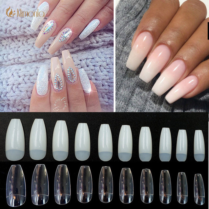 Coffin Nails Long Ballerina Nail Tips Square Head French Fake False ...