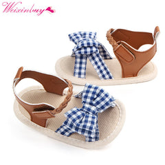 82bff6a7c Summer Cotton Canvas Dotted Bow Baby Girl Sandals Newborn Baby Shoes  Playtoday Beach Sandals