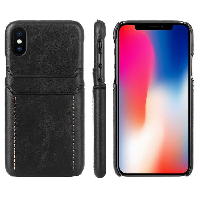 cheaper baf0c f61f2 Card Holder Case for Iphone X Xs Max Xr Luxury Leather Wallet Shockproof  Slim Hard Back Cover Phone Coque for IPhone Xs Funda