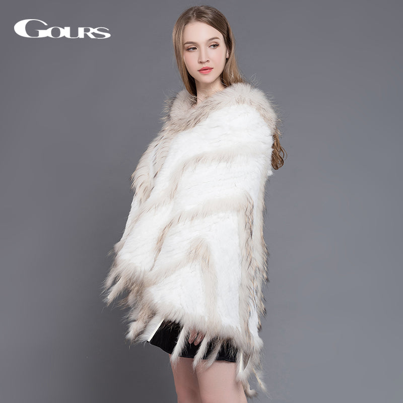 946e0e9a1f6ba Ladies Knitted Natural Rabbit and Raccoon Fur Shawl with Hooded Poncho