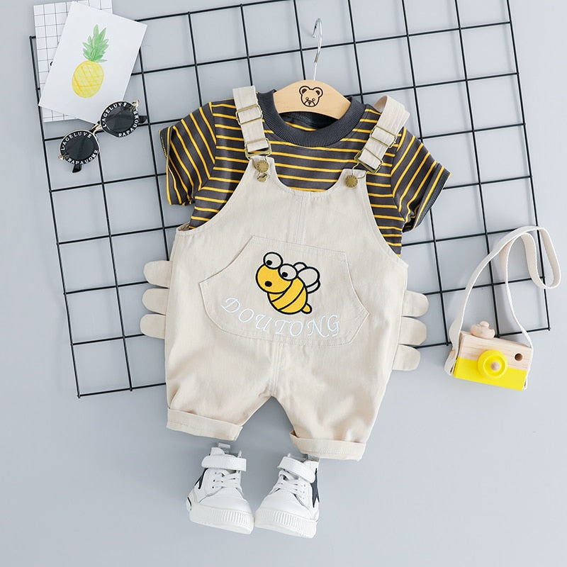 2287a45df1f4 HYLKIDHUOSE 2019 Summer Baby Girls Boys Clothing Sets Infant Clothes Suits  Stripe T Shirt Strap Shorts