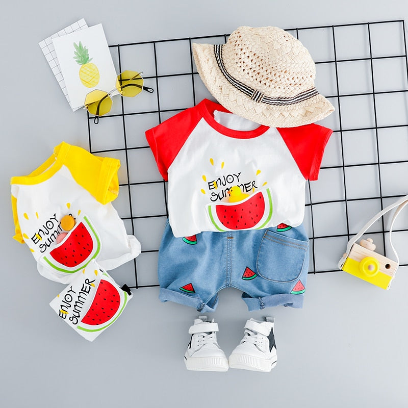 ba7487076dcab HYLKIDHUOSE 2019 Summer Infant Clothes Suits Baby Girls Boys Clothing Sets  Watermelon T Shirt Shorts Kids