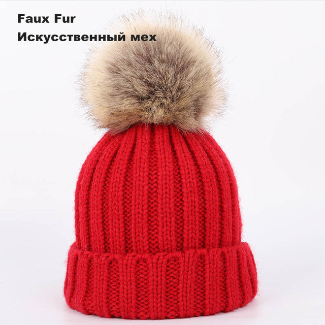 c9bc964cc021e New Two Raccoon Fur pom poms Knit Beanie Hat Solid Color High Quality