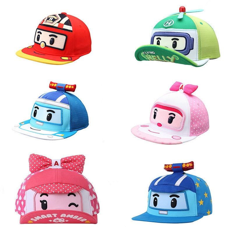 Child Cartoon Pororo Robot Car Spring Summer Cap Kids Boy Girl