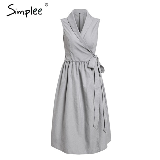 Simplee Vintage sleeveless women dress Summer v neck sashes long ...