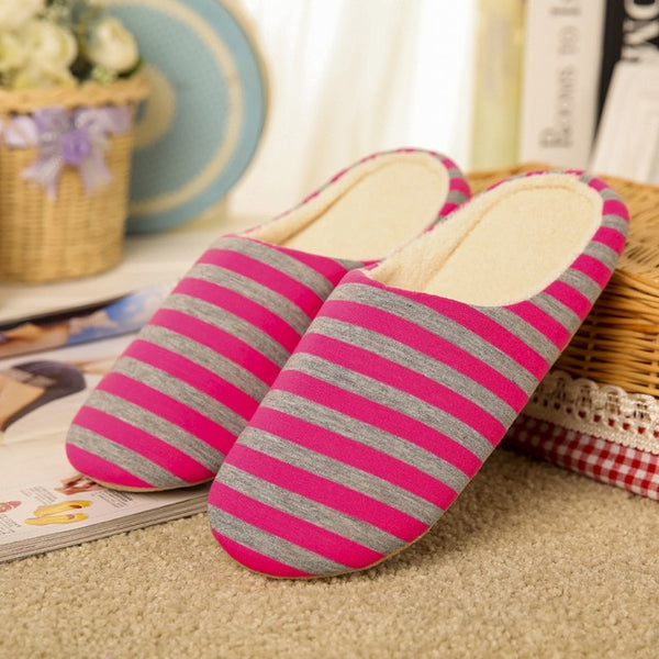 f19fdaee2c0 Slipper women Striped Bottom Soft Home Slippers Warm Cotton Shoes ...